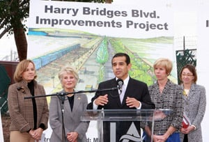 Los Angeles Mayor Antonio Villaraigosa (center) was on hand to celebrate the ground breaking of the Harry Bridges Boulevard improvements project.