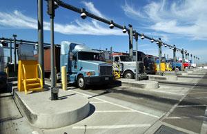 Trucks entering the Port of Los Angeles.
