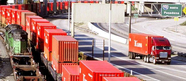 Officials from the Port of Long Beach allow owner-operators as well as company drivers under their Clean Truck Program. The Port of Los Angeles wants to ban owner-operators. (Photo courtesy Port of Long Beach.)