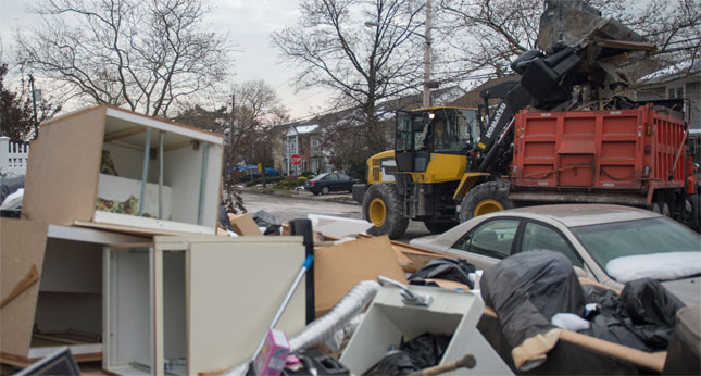 Debris and clean-up operations continue in Long Beach, New York. (FEMA photo)