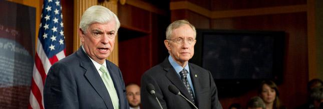 Senate Majority Leader Harry Reid (R) joined Senate Banking Committee Chairman Christopher Dodd (L) at a press conference last week, following a final passage vote on Wall Street reform legislation.