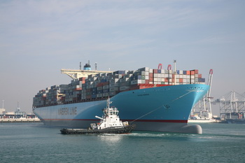 Post-Panamax vessels using the widened Panama Canal after 2014 will hurt volumes at West Coast ports. (photo by Maersk)