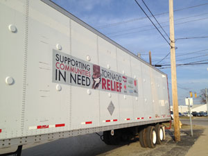 Wabash loaned a semi-trailer to transport supplies for American Red Cross tornado relief efforts in southern Indiana.