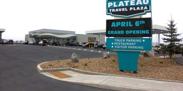 The new Plateau Travel Plaza near Madras, OR, features secure parking for up to 70...
