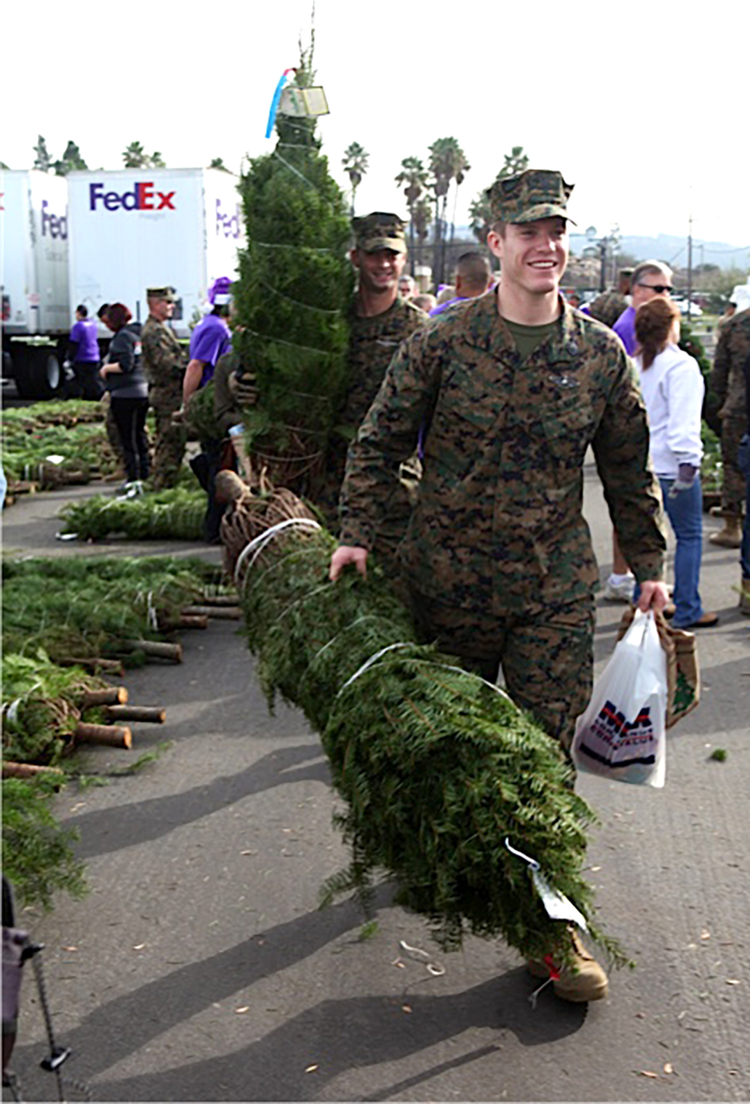 FedEx Delivering Trees for Troops