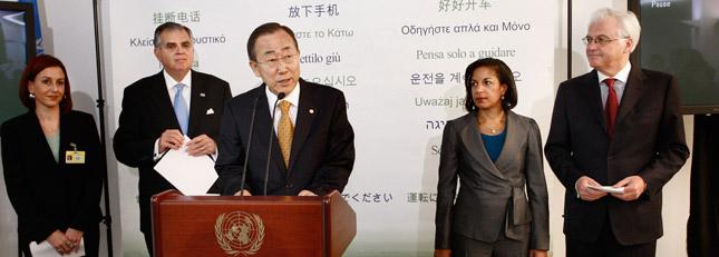 From left to right are Jennifer Smith, president of FocusDriven; DOT Secretary Ray LaHood; U.N. Secretary-General Ban Ki-moon; Susan Rice, U.S. ambassador; and Vitaly Churkin, Russian ambassador.(Photo courtesy of the United Nations)