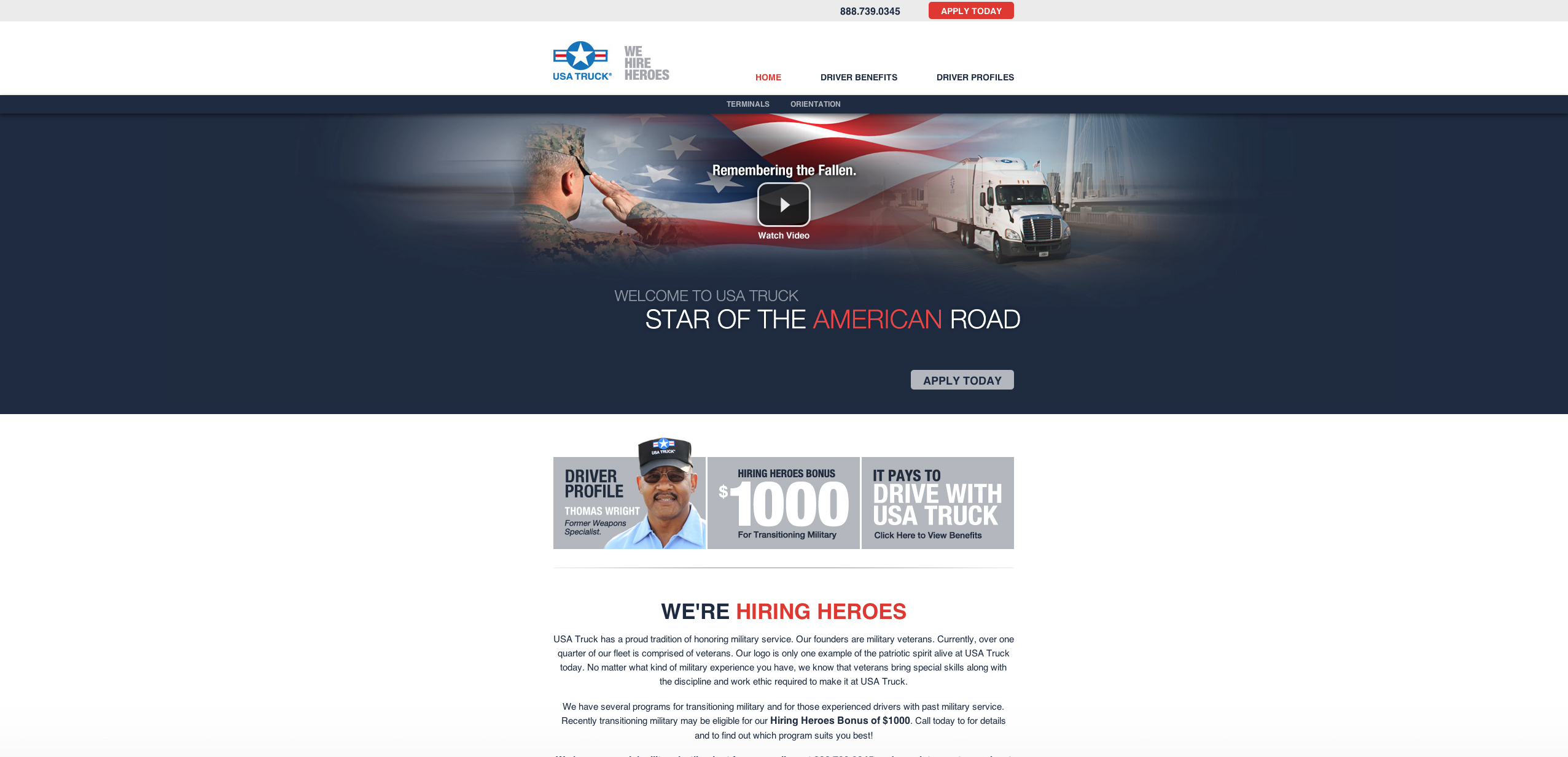 USA Truck Unveils Website For Veterans