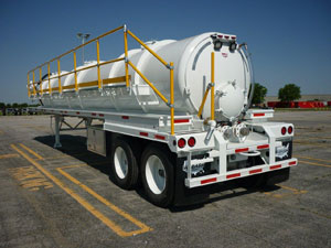 Weighing in at 16,750 lbs., vacuum tankers built by Wabash National are primarily used by customers in the oil and gas industry for fracking operations.