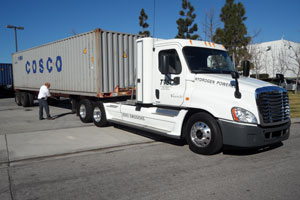 One zero-emission truck being tested at LA_area ports is this hydrogen-fuel-cell Tyrano, made by Vision Motor Corp. of El Segundo, Calif.
