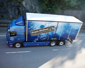 In 2007, Volvo Trucks demonstrated for the first time a truck that was able to run on biogas and biodiesel.