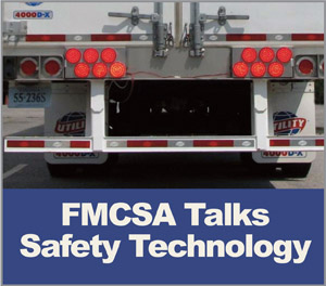 One of the technologies FMCSA is testing  involved improved rear signaling to prevent rear-end crashes into the back of trucks.