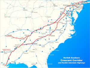 The Birmingham facility is part of Norfolk Southern's Crescent Corridor.