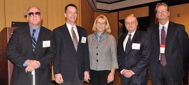 L-R: Albert Alvarez (FMCSA), Eric Wood (Univ. of Utah), FMCSA Administrator Anne Ferro, Richard Pain (Transportation Research Board), Rick Ash (owner-operator and chair of Trucking Solutions Group).