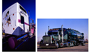 Grayling's Best of Show trucks are Lynette Myers' 2000 Kenworth W900 (left) and Ron Baird's 2000 Peterbilt 379 and 2000 Heil Pneumatic tanker, owned by Kevin Hoffman, Hoffman Transportation.