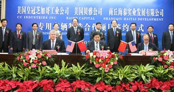 Signing ceremony in China finalizing the Ice Bear investment. Pictured left ro right: Dean Engelage, Great Dane executive VP; Ji Baozhi, Ice Bear Shanghai plant GM; and Brett Tucker, partner, Baird Capital Partners Asia.