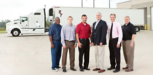Great Dane's Statesboro manufacturing plant celebrates with Rowland Transportation the completion of the facility's first customer trailer produced to order.