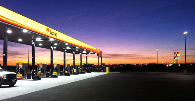 Sunrise at the new Love's Travel Stops in Davenport, Iowa.