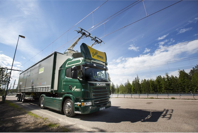 "Electric power, such as this ""trolley"" electric system being tested by Scania, is seen as a key theme of this year's IAA."