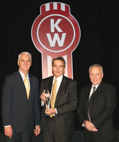 Truck Enterprises Hagerstown in Maryland was named Kenworth's 2013 Parts and Service Dealer of the Year for the U.S. and Canada at the recent Kenworth Dealer Meeting. From left are Gary Moore, Kenworth general manager and Paccar vice president; John Harter, president of Truck Enterprises Inc.; and David Danforth, Paccar Parts general manager.