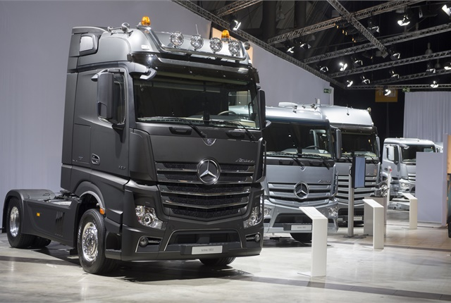 Mercedes-Benz trucks on display in 2012 at a pre-IAA Commercial Vehicle Show event. Daimler, as the largest of the truck makers involved in the EU investigation, also faces the largest fine. Photo by Sven-Erik Lindstrand.