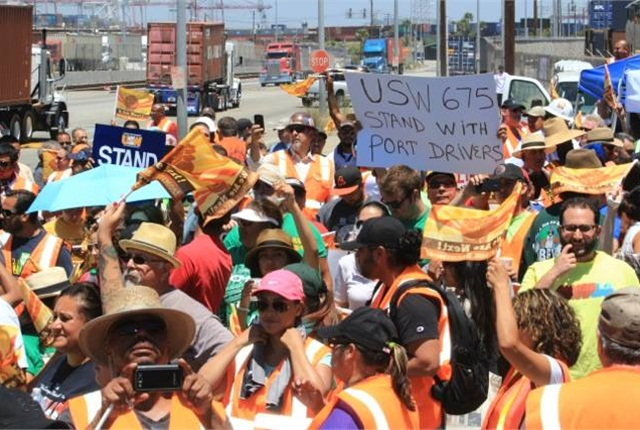 July 11 protest at the Port of Los Angeles/Port of Long Beach. Photo: Justice for Port Truck Drivers