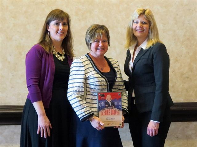 From left toright: Lisa Hartenberger of Navistar, Kari Rihm of Rihm Kenworth, and Ellen Voie of Women in Trucking. Photo: Navistar