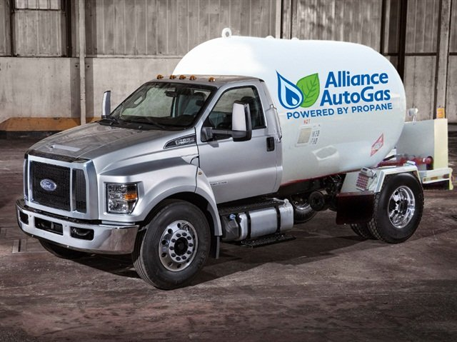 Ford F-650 featuring a bi-fuel AutoGas system conversion. (PHOTO: Alliance AutoGas)