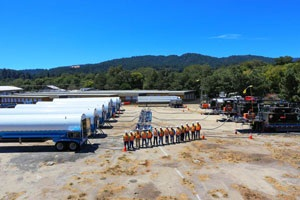 Photo courtesy of PGE Currents. The drivers and loaders operated five portable compressors, 32 tankers, and three vaporizers, according to the company.