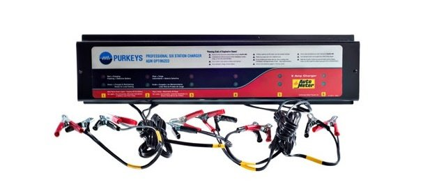 The 6-Station Battery Charger is part of Purkeys' line of dual-branded products with AutoMeter. Photo: Purkeys