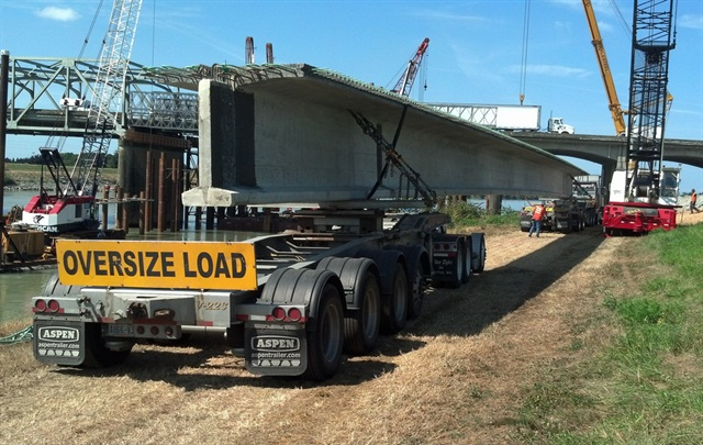 One of the eight massive girders for reparis to the I-5 bridge. Credit: Washington State DOT.