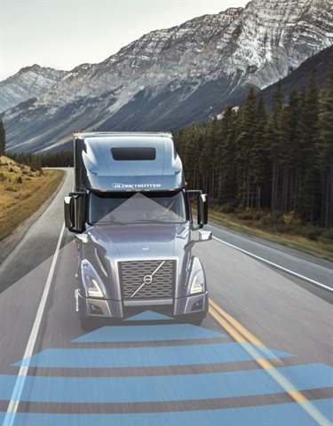 Volvo Active Driver Assist, which includes Bendix Wingman Fusion, a comprehensive, camera- and radar-based collision mitigation system, is now standard equipment on the new Volvo VNR and VNL series. Photo: Volvo Trucks