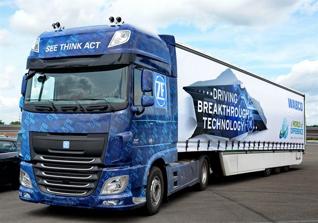 ZF's Innovation Truck 2016 boasts multiple safey systems incorporating electronic control of mechanial driving functions. Photo by Jim Park