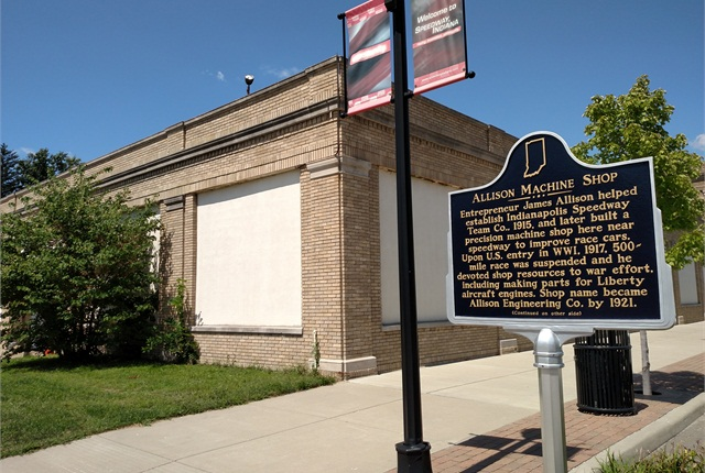 """Historical marker on Main Street in Speedway, Ind., commemorates the building that housed James Allison's machine shop and """"speedway team."""" Today's Allison Transmission headquarters is several blocks away in Indianapolis. Photo by Tom Berg"""