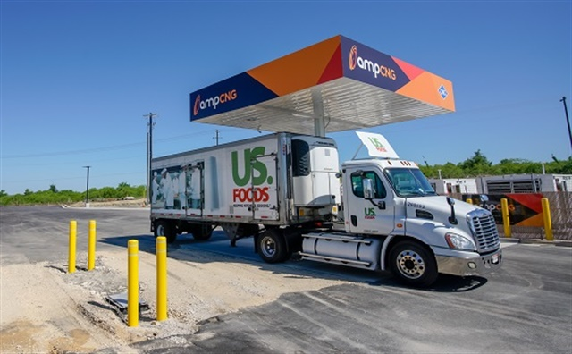 Amp Americas' new CNG fueling station in Buda, Texas, is a public station that is used to fuel US Foods' fleet of 50 CNG trucks. Photo: Amp Americas