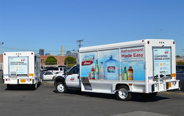 Nestlé Waters North America unveiled five medium-duty beverage trucks equipped with ROUSH CleanTech propane autogas fuel systems:Photo via Roush.