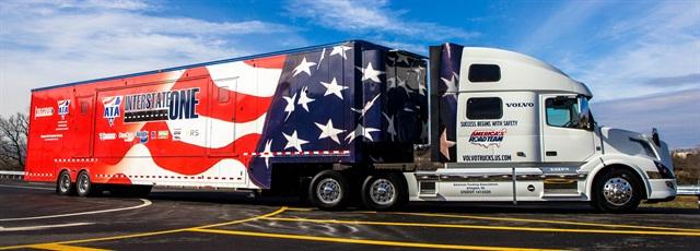 "The 2015 Volvo VNL 780 model and ""Interstate One"" mobile classroom trailer. Photo courtesy Volvo Trucks"