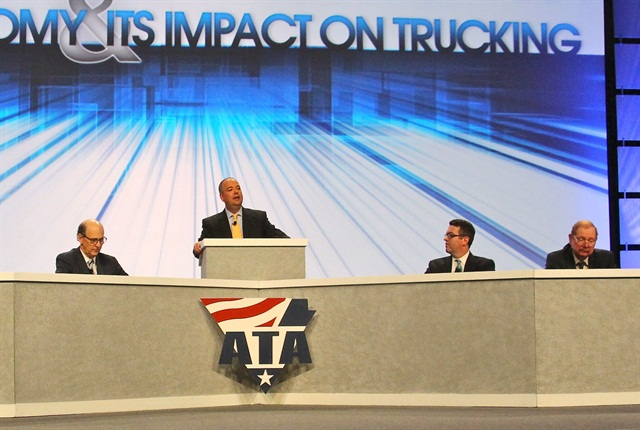 ATA Chief Economist Bob Costello, center, was joined by (left to right) John Felmy of the American Petroleum Institute, Jack Kleinhenz of the National Retail Federation and Chad Moutray of the National Association of Manufacturers, to discuss the current status of the economy and its effect on the industry. Photo by Evan Lockridge