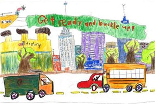 """Second grader Caleb Zhao from Gaithersburg, Md., was the grand prize winner of last year's """"Be Ready. Be Buckled."""" art contest for the kindergarten through second grade age group."""