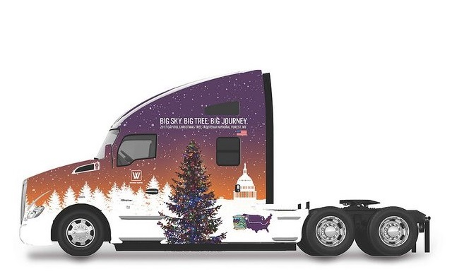 Kenworth T680 Advantage with U.S. Capitol Christmas Tree Truck decal design. Image: Kenworth
