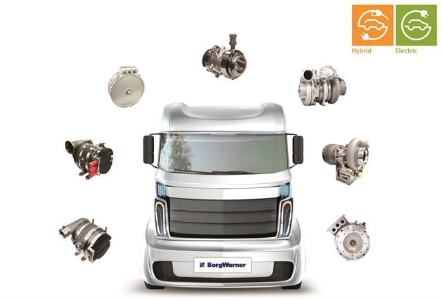 BorgWarner offers the growing hybrid and electric commercial vehicle market a broad product portfolio to help meet emissions regulations and fuel economy goals. Image: BorgWarner