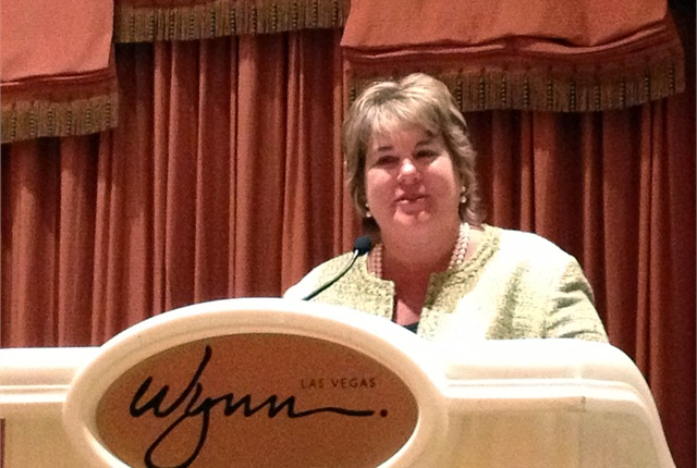 Rebecca Brewster accepts the third annual Influential Woman in Trucking award.