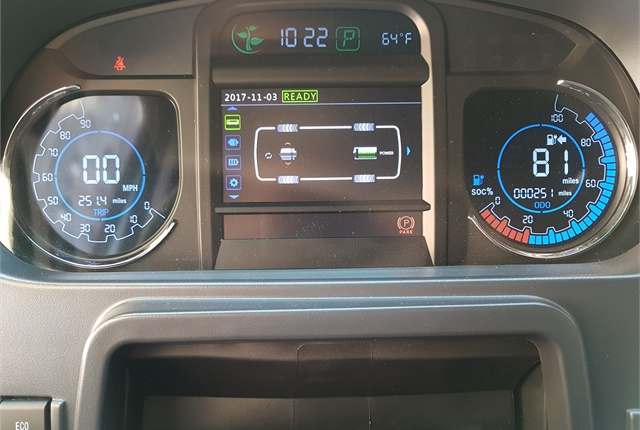Rather than a fuel gauge, a range meter shows drivers the state of charge and how far they can drive. There's also a traditional speedometer and trip meter. Photo: Jim Park