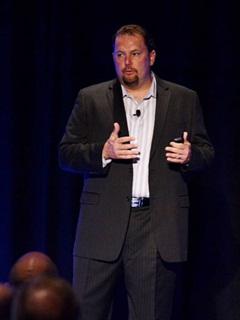 Werner Enterprises' Derek Leathers speaks at the annual ALK Summit.