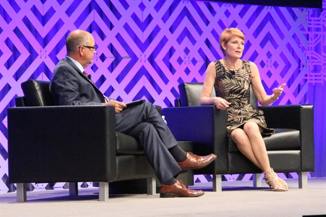 The economy and its effect on trucking was the topic of a general session on Sunday, hosted by American Trucking Associations' Chief Economist Bob Costello and his guest and analyst Diane Swonk, at the ATA's annual convention in Las Vegas. Photo: Evan Lockridge