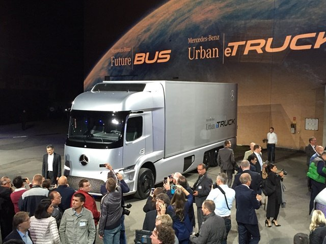 Wolfgang Bernhard answers reporter questions about the Urban eTruck Photo: Deborah Lockridge