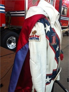 Leather riding suits kept Knievel from breaking more than the40 bones he did fracture during his stunt career. Photo via Mack Trucks