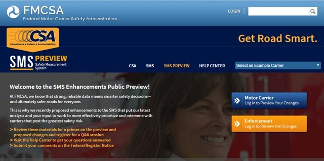 Screenshot of FMCSA's preview site for proposed SMS changes.