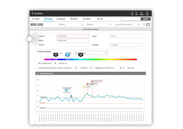 FourKite's solution allows shippers to track load temperatures in real time. Image via FourKites.