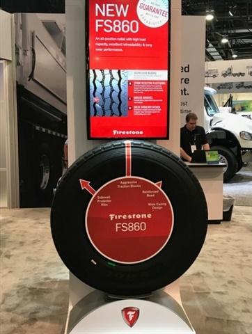 Bridgestone showcased the M870 and FS860 all-position tires at this year's Waste Expo in Las Vegas. Photo: Bridgestone Americas