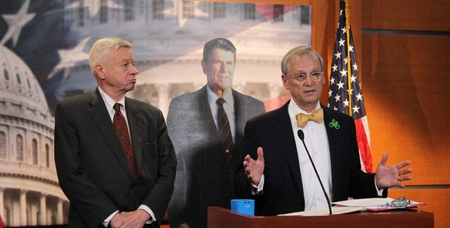 Reps. Earl Blumenauer, D-Ore., (right) and Tom Petri, R-Wis., called for passage of a bill to raise the tax and quoted from Reagan's call to do the same.